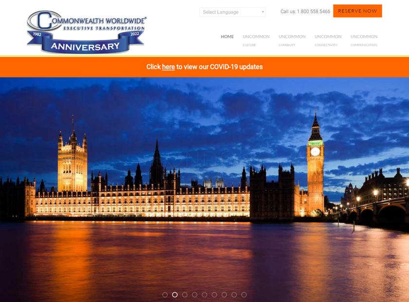 Commonwealth Worldwide Chauffeured Transportation homepage screenshot