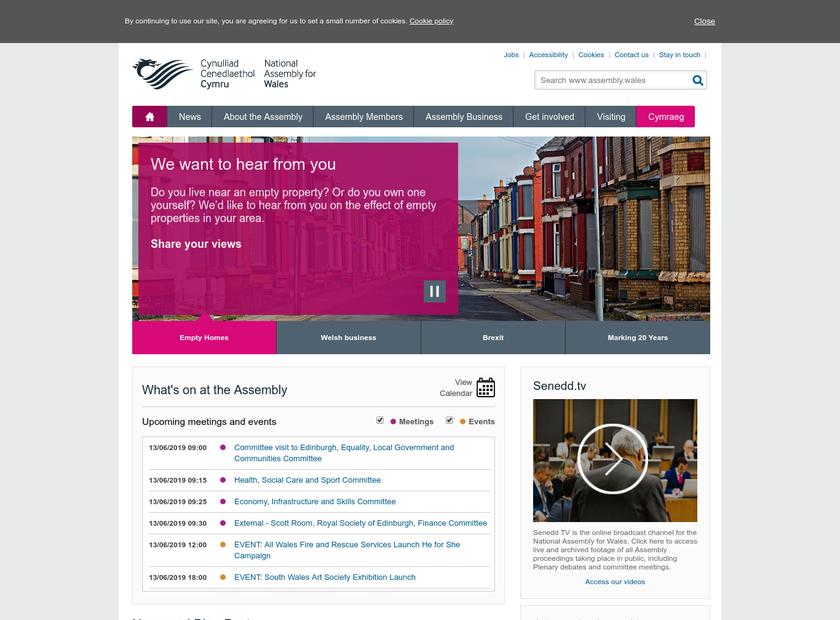 National Assembly for Wales / Cynulliad Cenedlaethol Cymru homepage screenshot