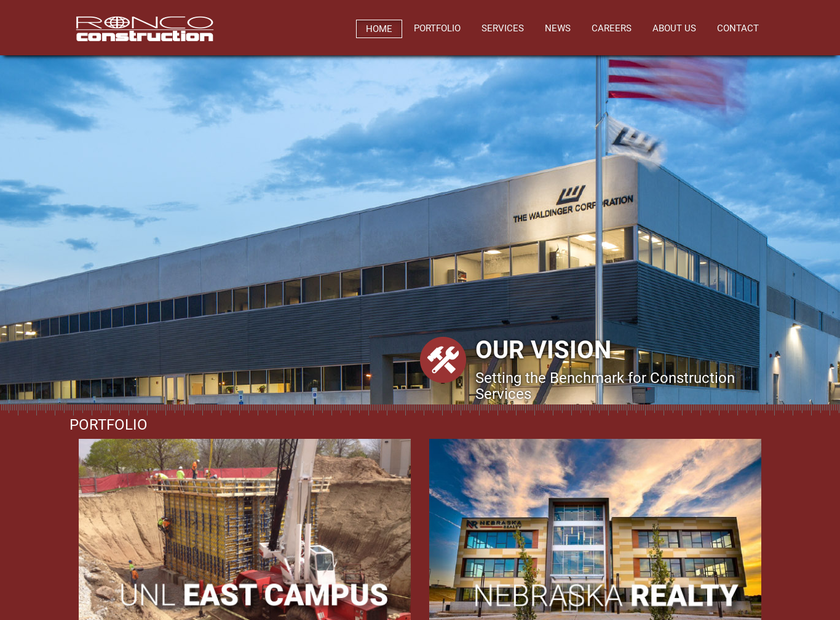 Ronco Construction Co homepage screenshot