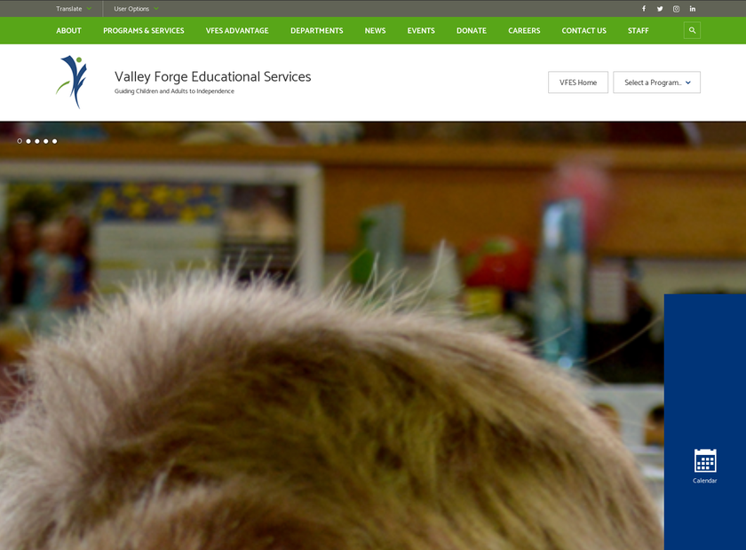 Valley Forge Educational Services homepage screenshot