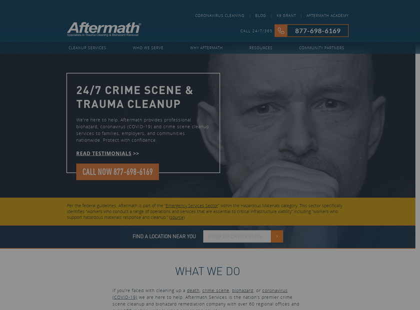 Aftermath Services LLC homepage screenshot