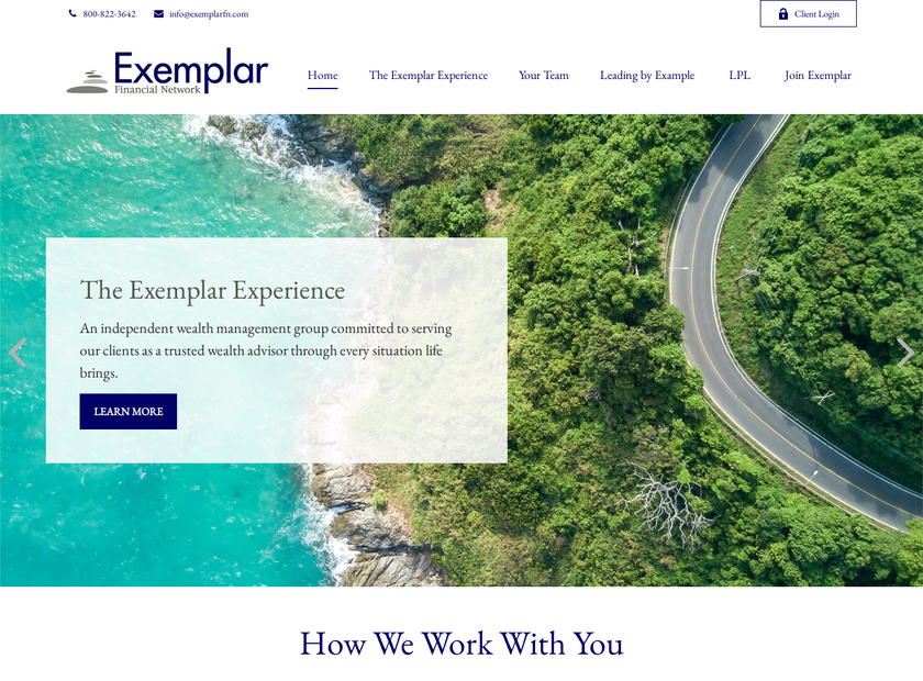 Exemplar Financial Network homepage screenshot