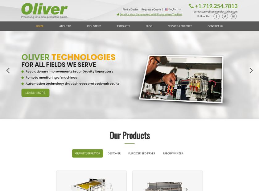 Oliver Manufacturing CO Inc homepage screenshot