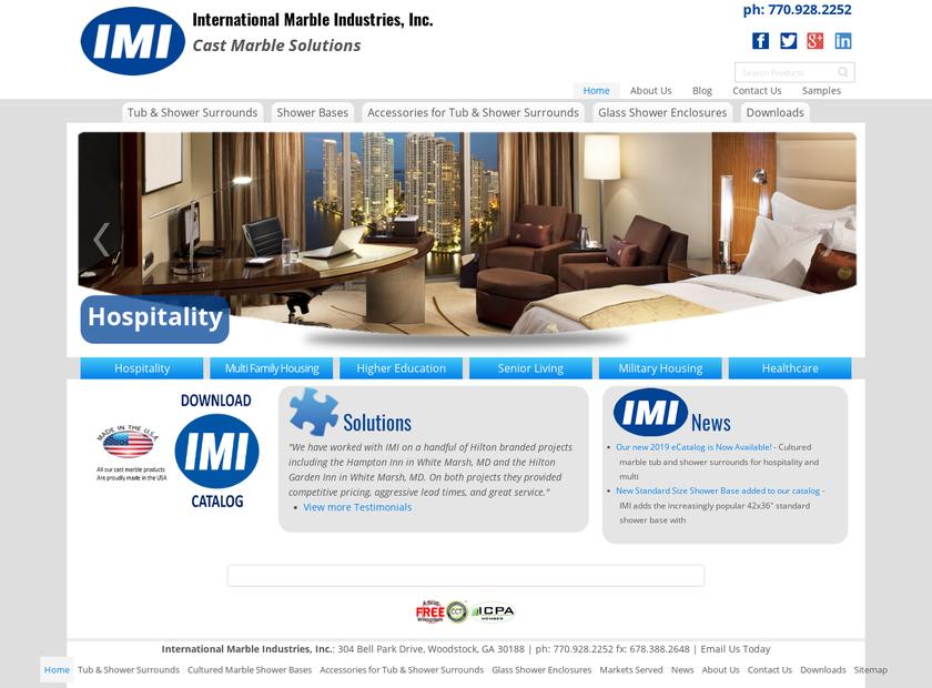 International Marble Industries Inc homepage screenshot