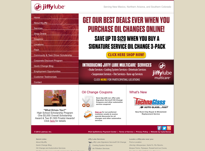 Lubricar , Inc. homepage screenshot