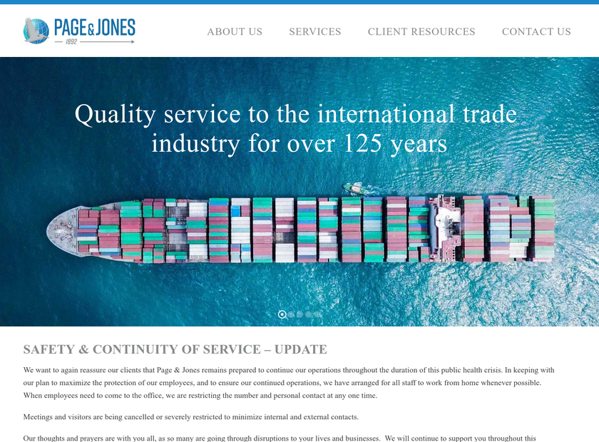 Page & Jones Inc homepage screenshot