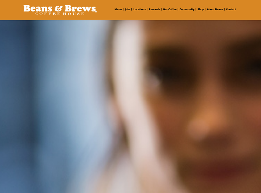 Beans and Brews homepage screenshot