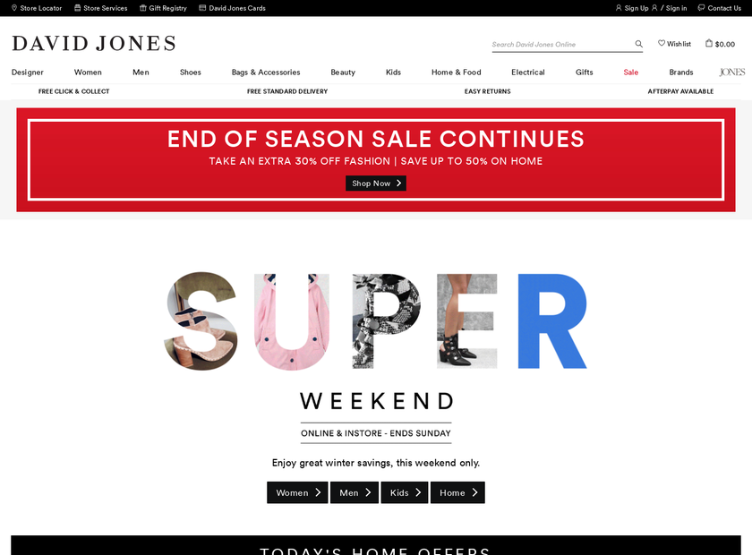 David Jones Limited homepage screenshot