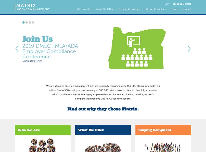 Matrix Absence Management Inc homepage screenshot