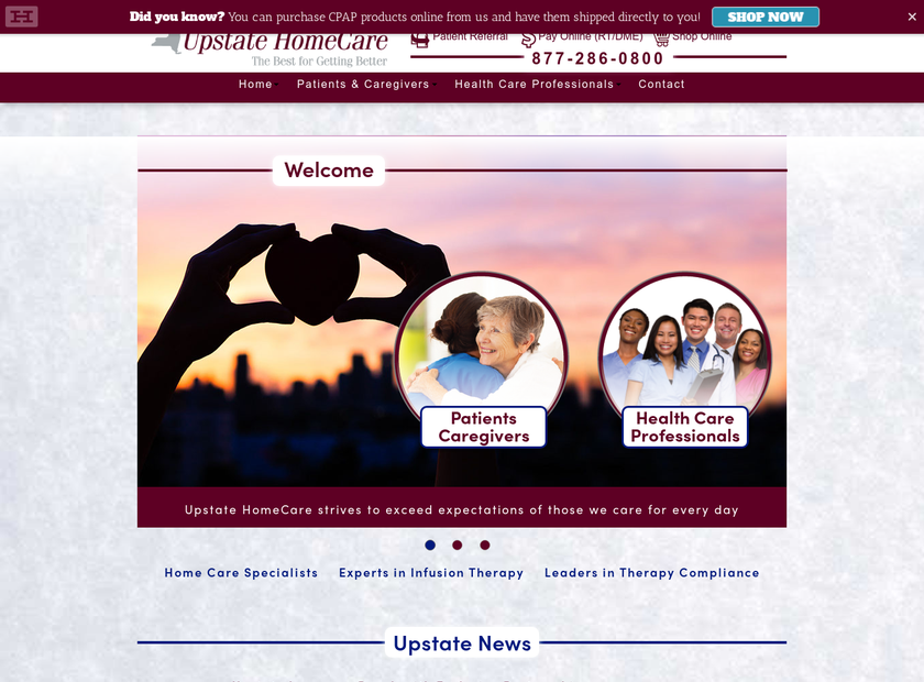 Upstate Homecare , Inc. homepage screenshot