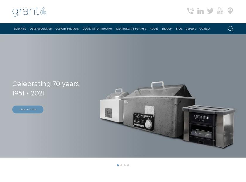 Grant Instruments Ltd homepage screenshot