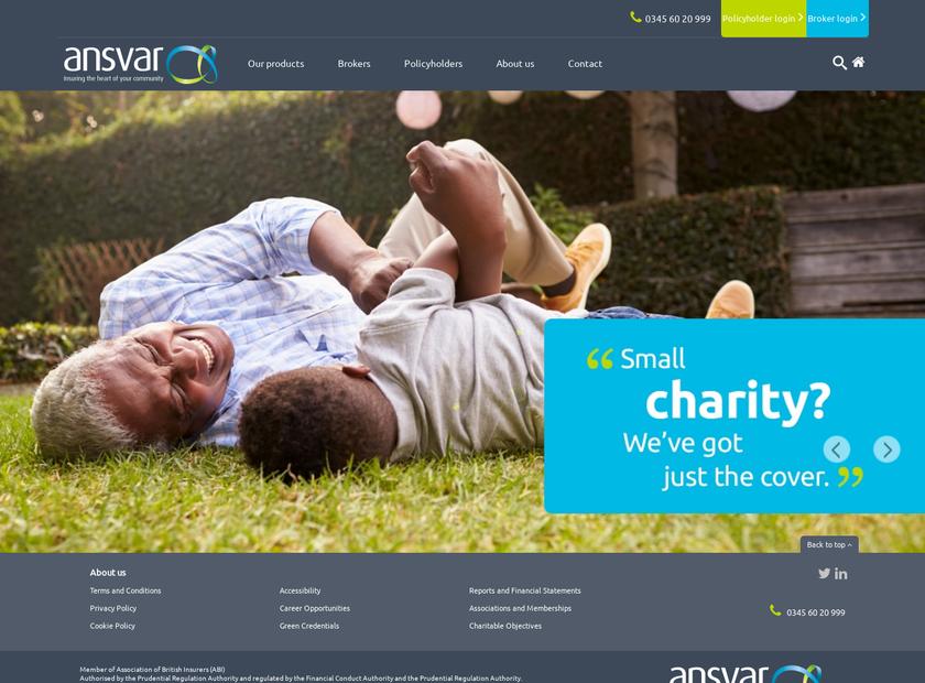 Ansvar Insurance Company homepage screenshot