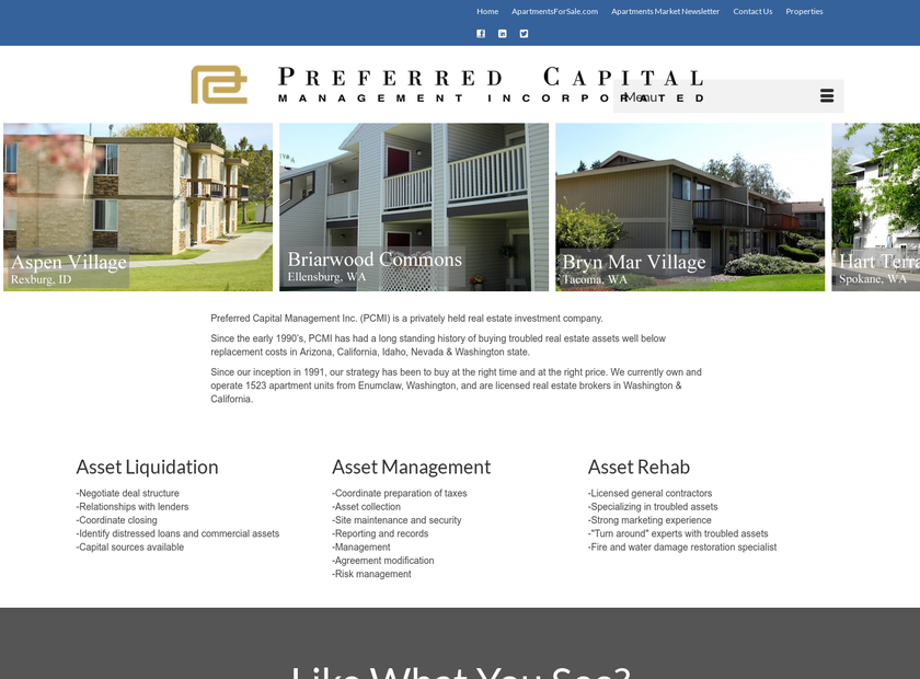 Preferred Capital Management, Inc. homepage screenshot