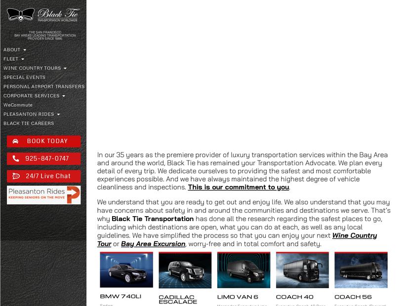 Black Tie Transportation homepage screenshot