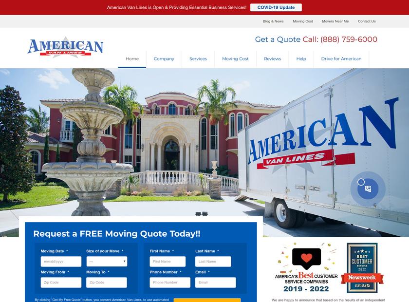 American Van Lines Inc homepage screenshot