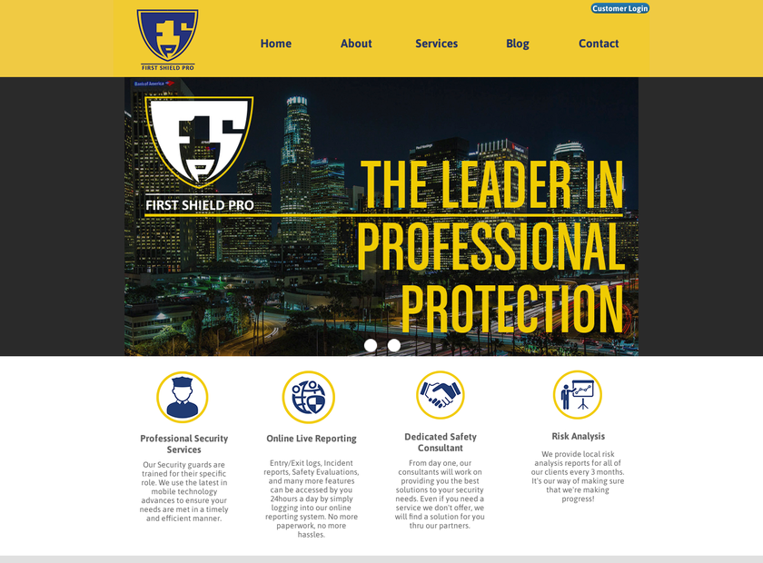 First Shield Pro homepage screenshot