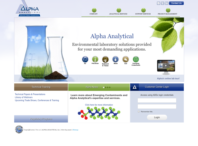 ALPHA ANALYTICAL Inc homepage screenshot
