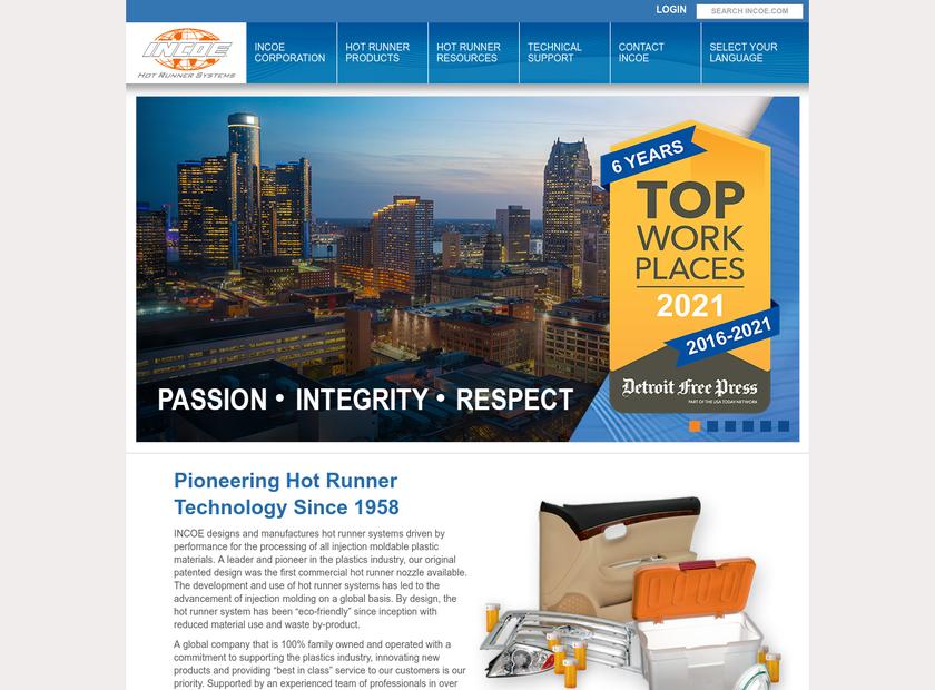 INCOE Corporation homepage screenshot