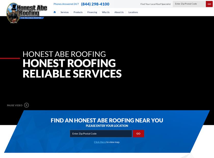 Honest Abe Roofing Inc homepage screenshot