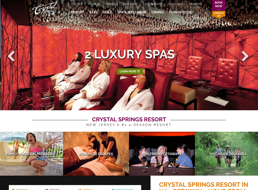 Crystal Springs Resort homepage screenshot