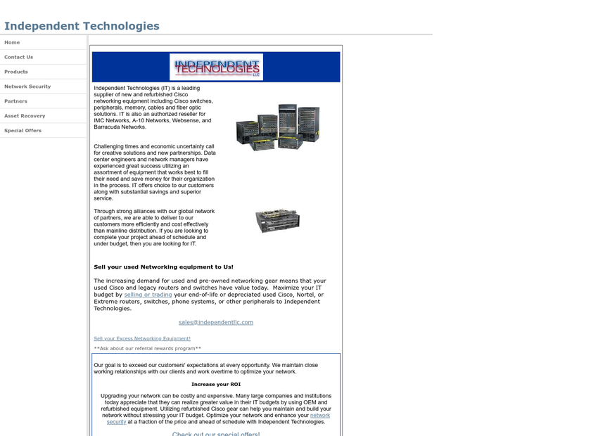 Independent Technologies LLC homepage screenshot