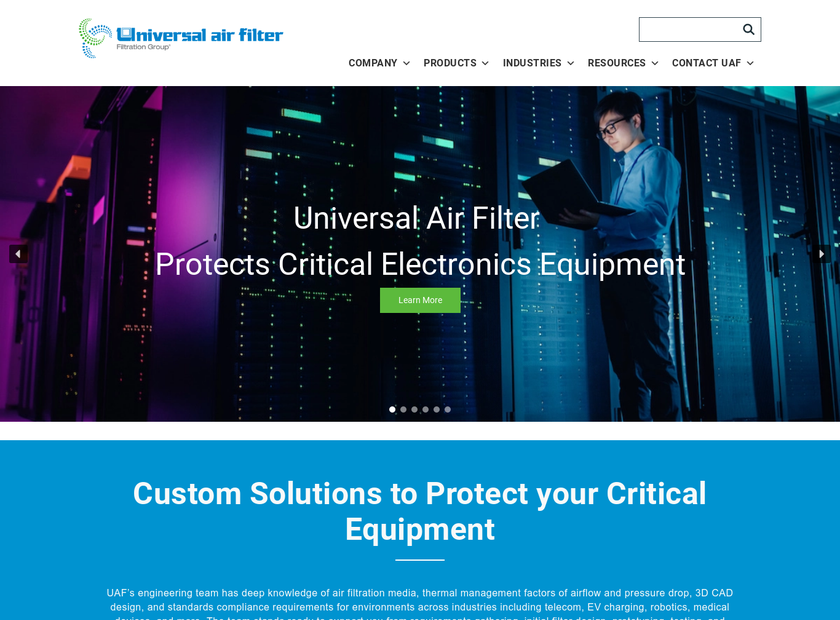 Universal Air Filter Company homepage screenshot