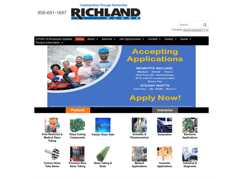 Richland Glass Company homepage screenshot
