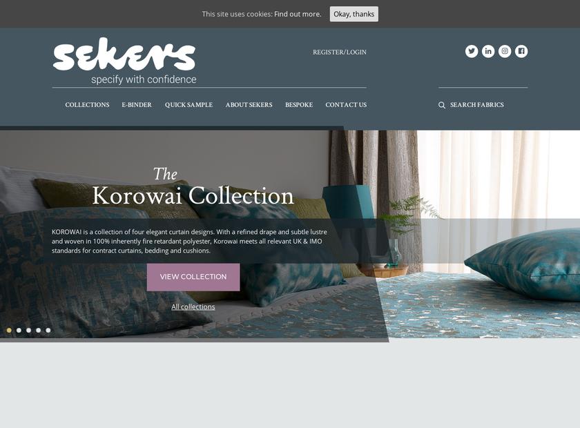Sekers Fabrics Ltd homepage screenshot