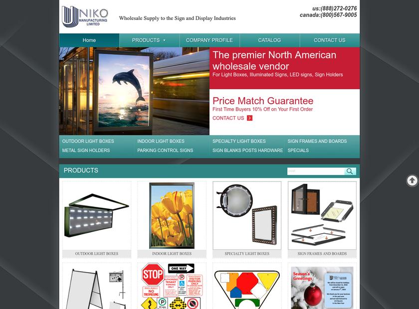 Uniko Manufacturing Limited homepage screenshot