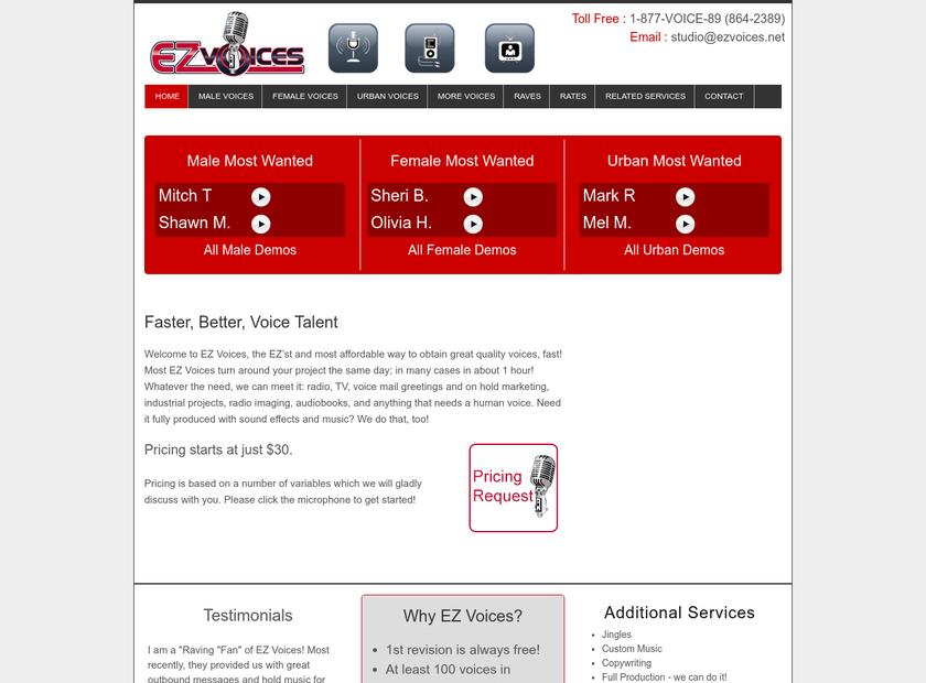 EZ Voices homepage screenshot