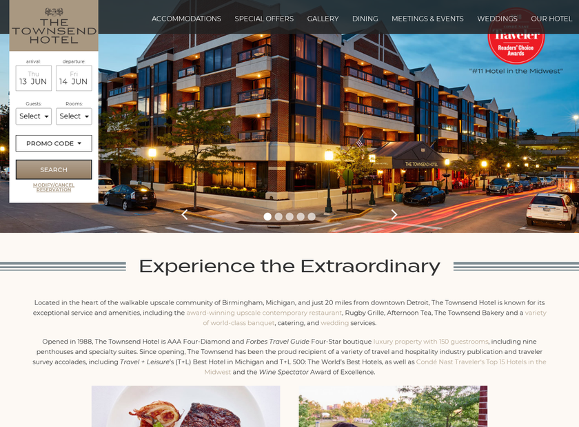 Townsend Hotel homepage screenshot