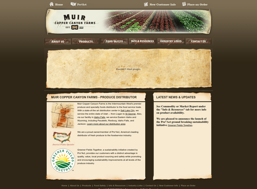 Muir Enterprises, Inc. homepage screenshot