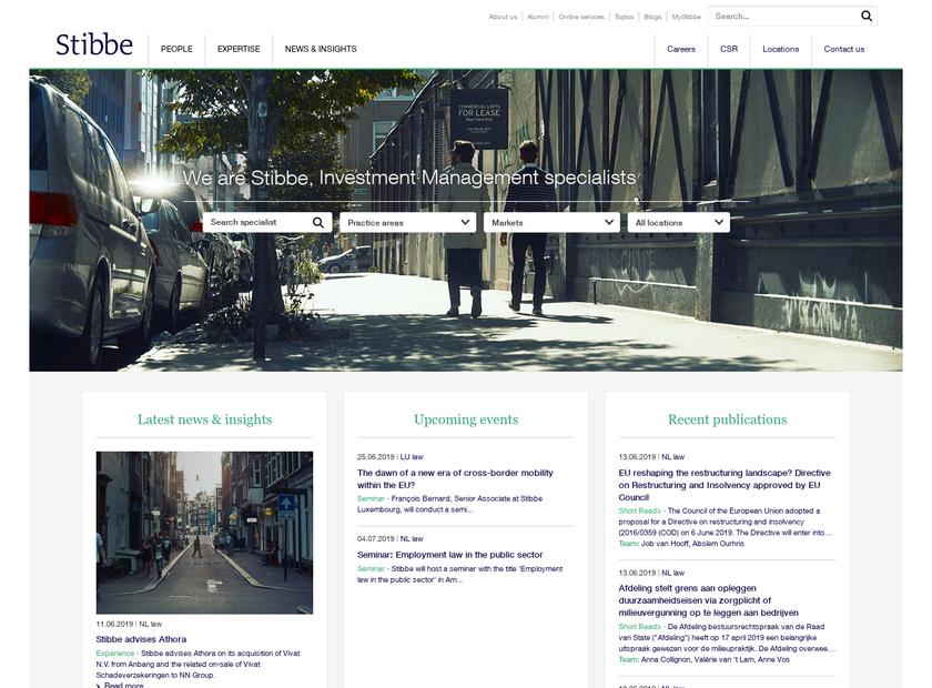 Stibbe homepage screenshot