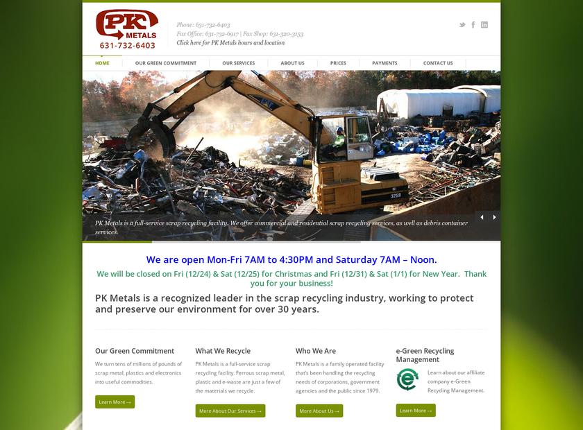 PK Metals homepage screenshot