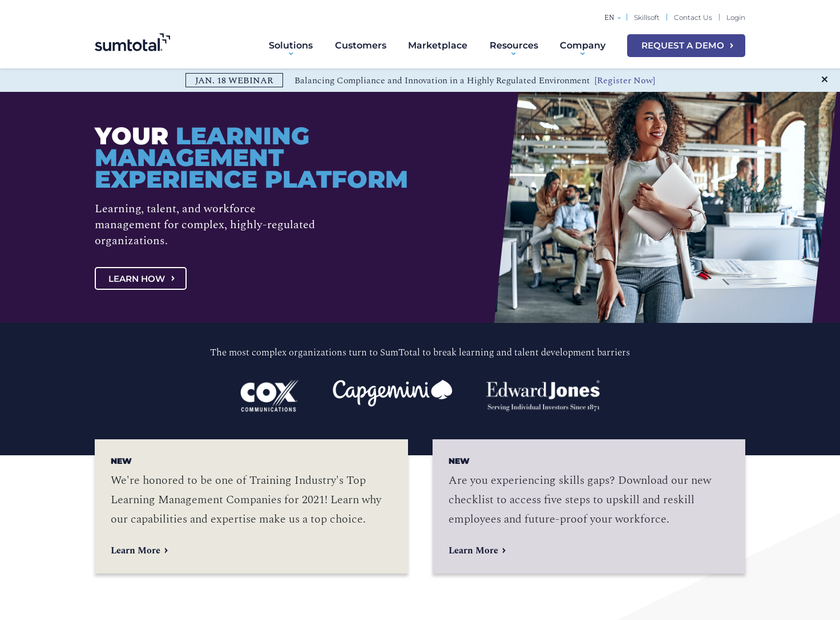 SumTotal Systems Inc homepage screenshot