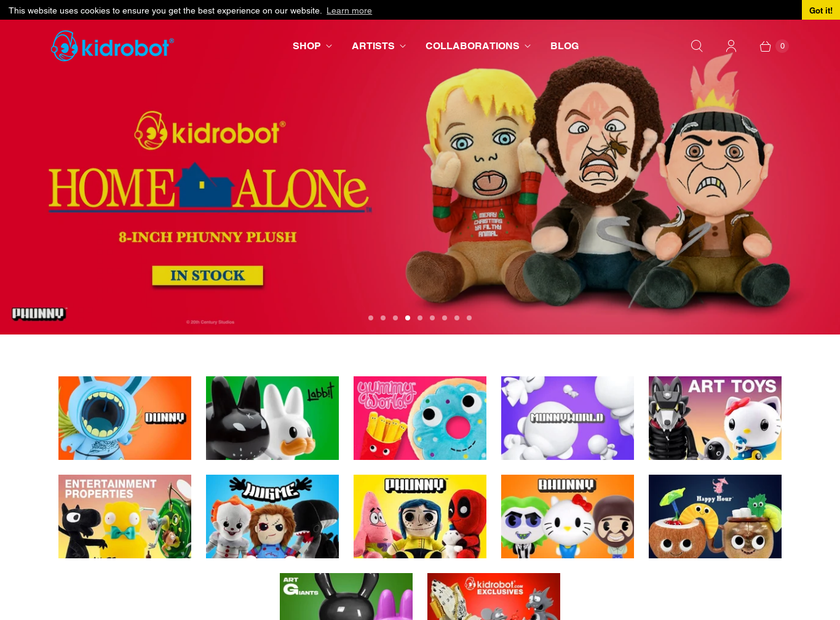 Kidrobot Inc homepage screenshot