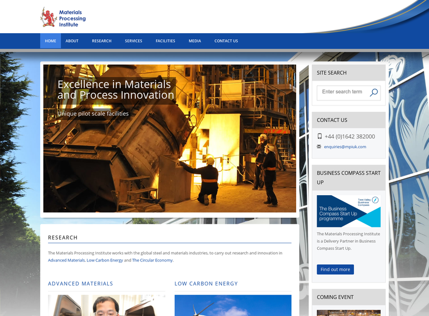 Materials Processing Institute homepage screenshot