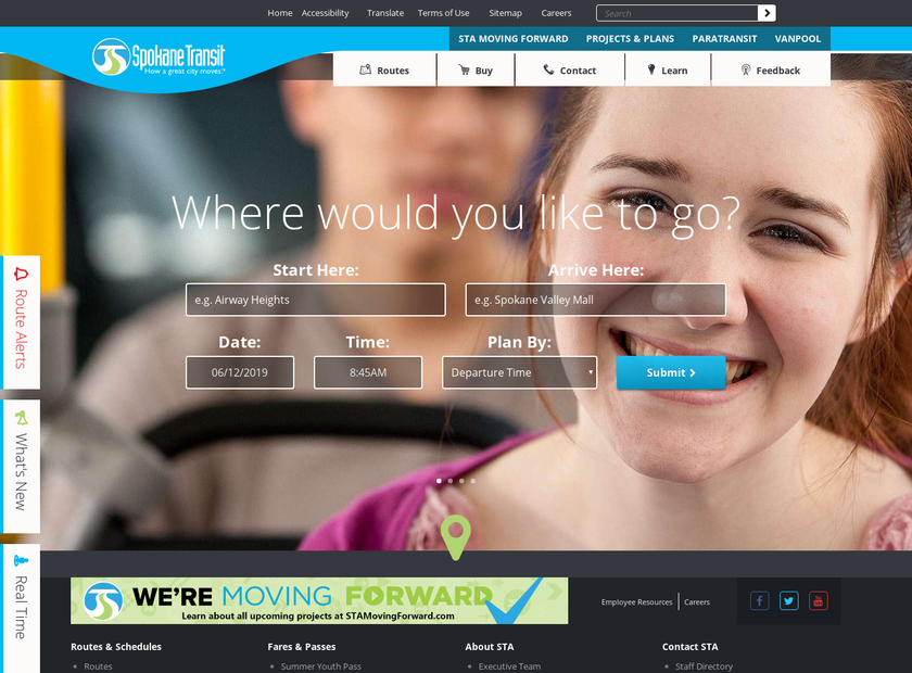 Spokane Transit Authority homepage screenshot