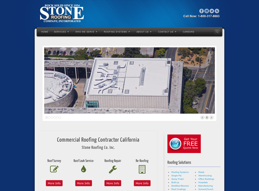 Stone Roofing Company Inc homepage screenshot