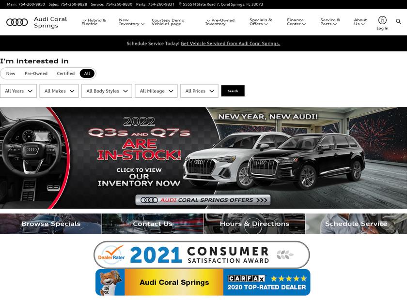 Audi Coral Springs homepage screenshot