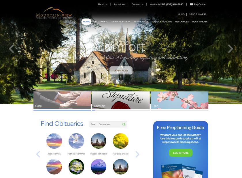 Mountain View Funeral Home homepage screenshot