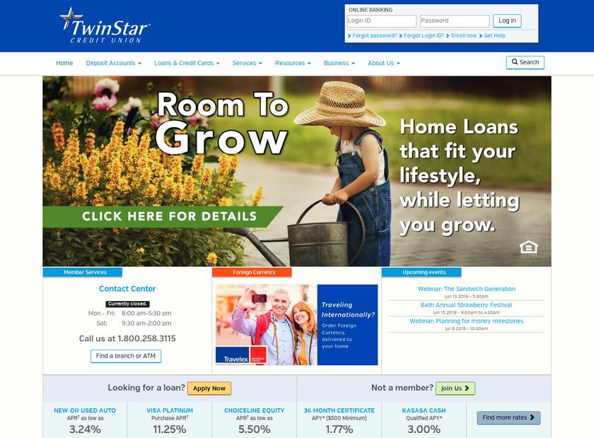 TwinStar Credit Union homepage screenshot
