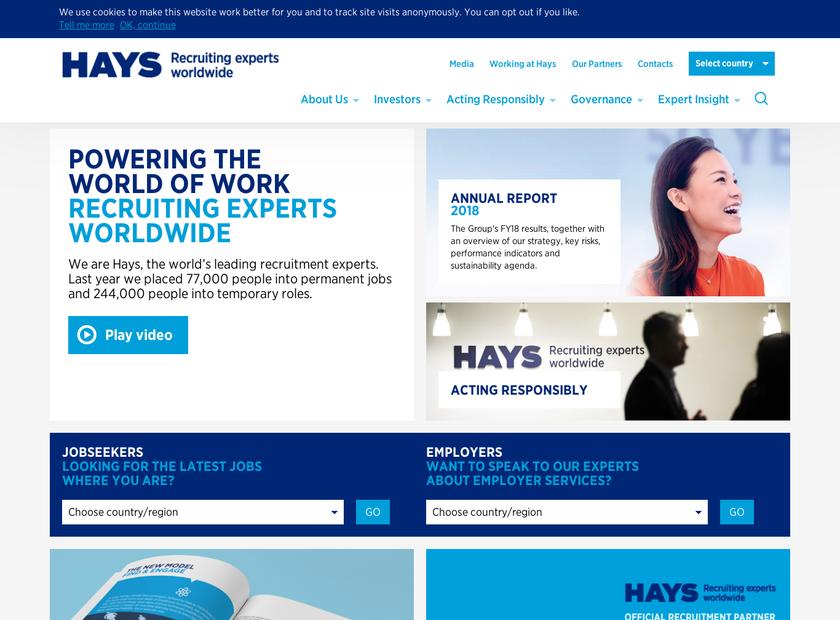 Hays plc homepage screenshot