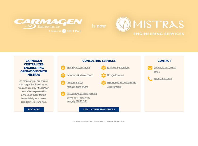Carmagen Engineering Inc homepage screenshot