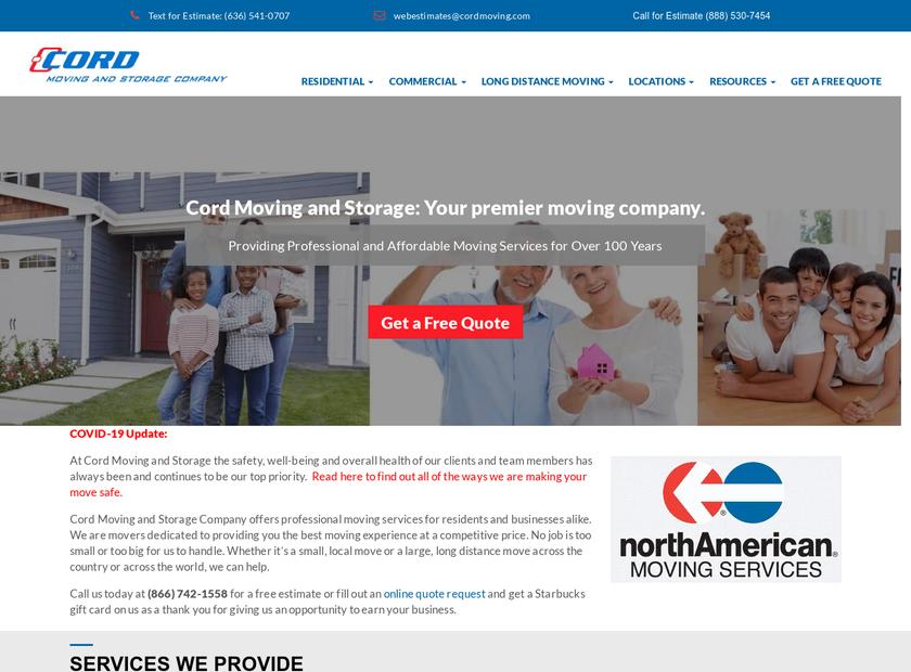 Cord Moving and Storage Company homepage screenshot