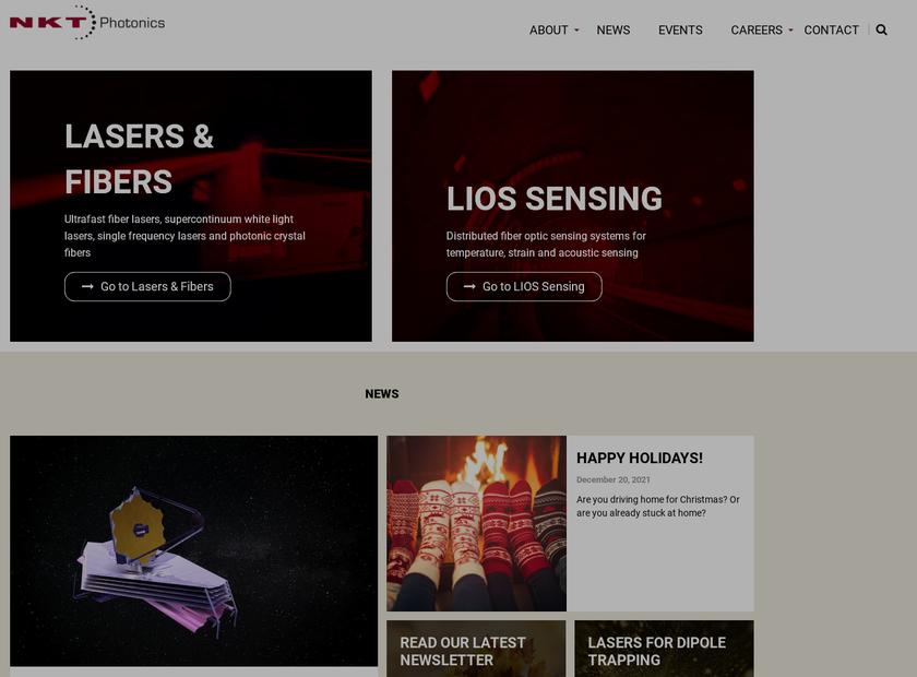 NKT Photonics homepage screenshot