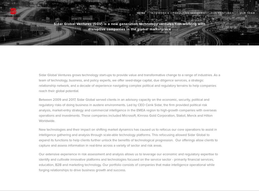 Sidar Global Advisors homepage screenshot