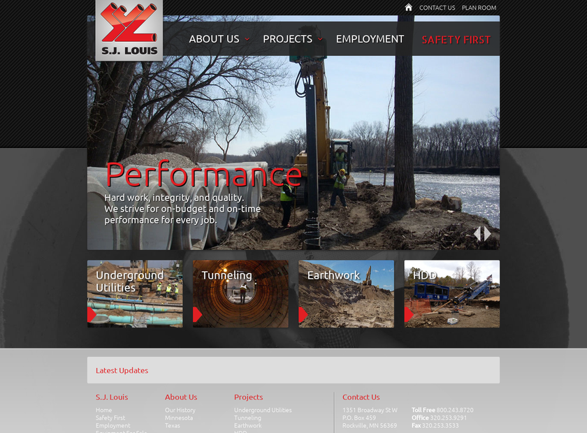 S.J. Louis Construction, Inc. homepage screenshot