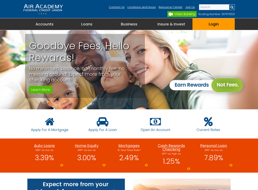 Air Academy Federal Credit Union homepage screenshot