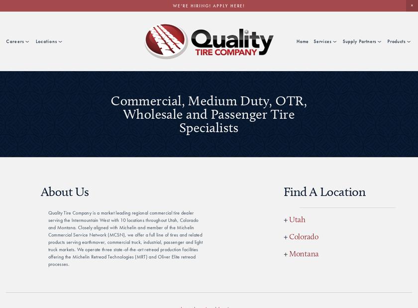 Quality Tire Company homepage screenshot